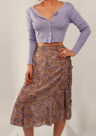 Floral High Waisted Drawstring Frill Midi Skirt Purple