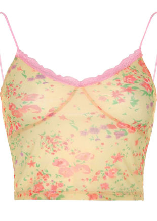 Floral Lace Spaghetti Strapped Print Crop Cami Top Beige