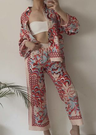 Paisley Print Collared Shirt And Wide Leg Trousers Co Ord Set Beige