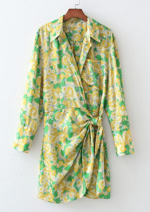 Floral Print Collared Wrap Over Tie Drawstring Detail Mini Dress Green