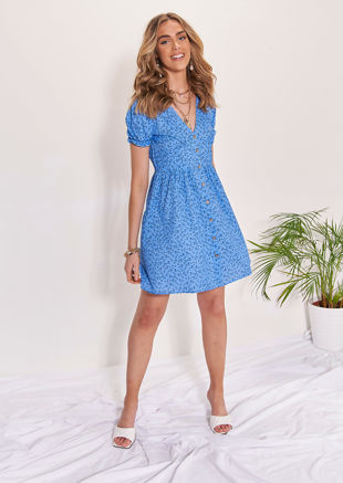 Floral V Neckline Button Down Back Shirred Mini Dress Blue
