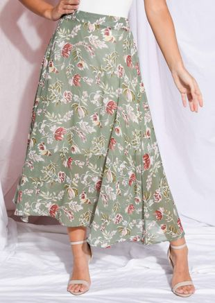 Floral Print High Waisted Midaxi Skirt Green