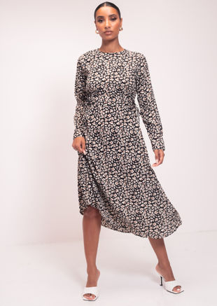 Animal Print Midi Length Sleeve Smock Dress Black