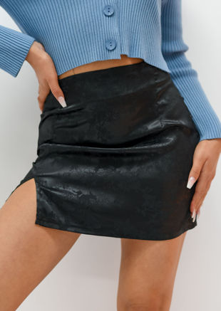 Floral Print Front Split A Line Satin Mini Skirt Black