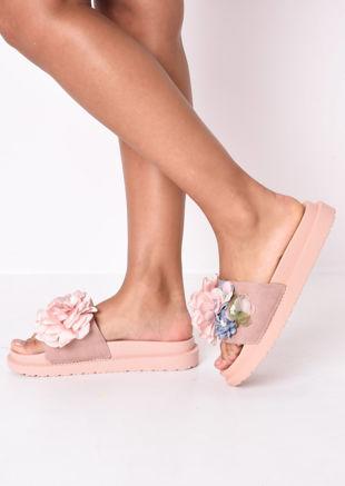 Flower Pearl Embellished Platform Slides Pink