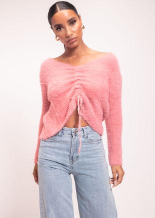 Fluffy Knit Drawstring Jumper Top Pink