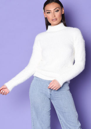Mock Neck Ribbed Detail Fluffy Long Sleeve Knit Jumper White