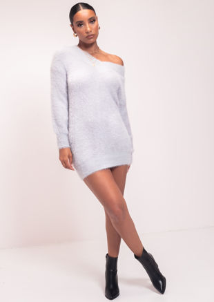 Fluffy Plunge V Neck Jumper Dress Blue