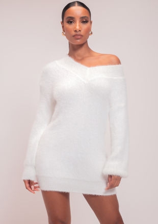 Fluffy Plunge V Neck Jumper Dress White