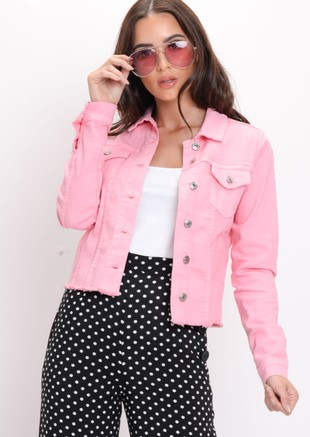Frayed Hem Denim Jacket Pink