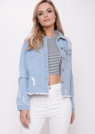 Frayed Hem Distressed Crop Denim Jacket Blue