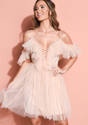 Frill Cold Shoulder Bardot Tulle Mini Dress Nude Pink