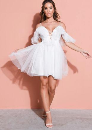 Frill Cold Shoulder Bardot Tulle Mini Dress White