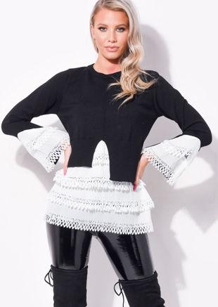 Frill Shirt Hem Round Neck Knitted Jumper Black