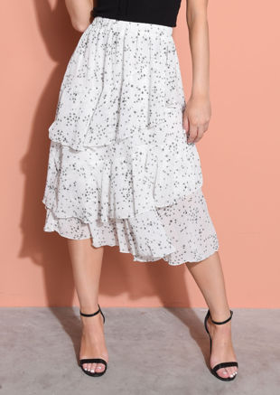 Frill Hem Chiffon Dandelion Print Midi Skirt White