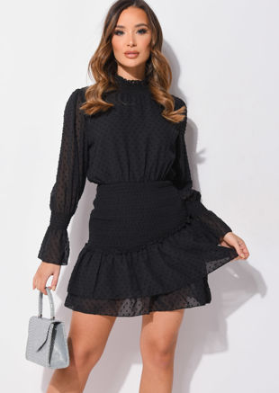 Frill Polka Dot Shirred High Neck Mini Dress Black