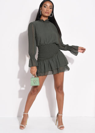 Frill Polka Dot Shirred Mini Dress Green