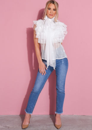Frill Pussybow Pearl Button Through Sheer Blouse White