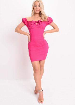 Frill Ruched Bardot Mini Dress Fuchsia Pink
