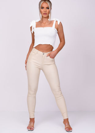 Frill Shirred Tie Up Crop Top White