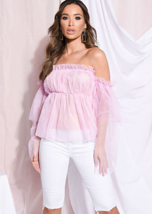 Frill Off Shoulder Bardot Ruffle Tulle Top Pink