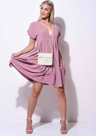 Frill Tiered Mini Shirt Dress Pink