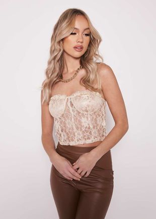 Floral Laced Frilled Back Mesh Bandeau Crop Top Beige