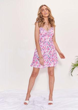 Frilled Hem Shoulder Strapped Floral Mini Dress Pink