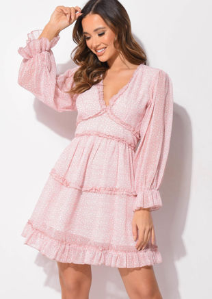 Frilled V Neck Tiered Mini Dress Animal Print Pink