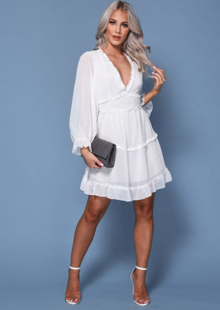 Frilled V Neck Tiered Mini Dress White