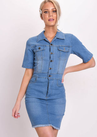 Front Button Detail Fitted Denim Mini Dress Blue