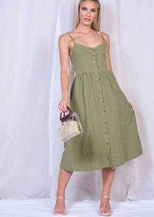 Front Button Through Strappy Midi Dress Khaki Green