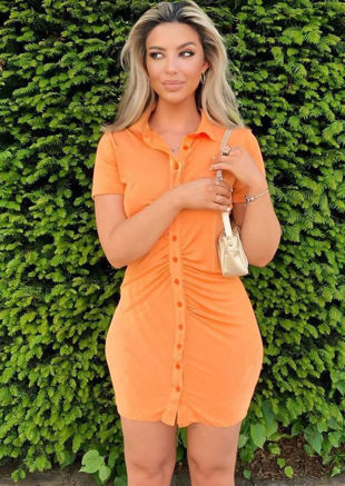 Short Sleeve Front Ruched Collared Button Down Mini Shirt Dress Orange