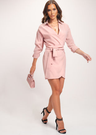 Wrap Over Collared Shirt Dress Pink