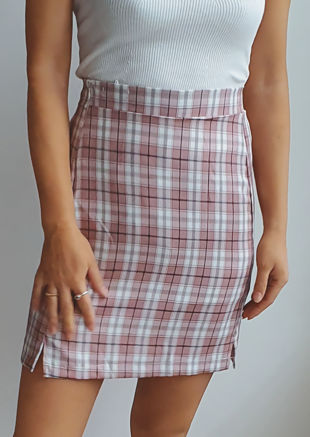 Front Split Checked Mini Skirt Pink