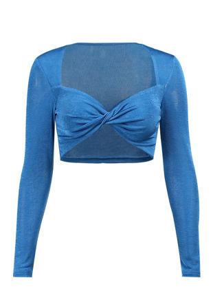 Front Twisted Neckline Slinky Long Sleeve Crop Top Blue