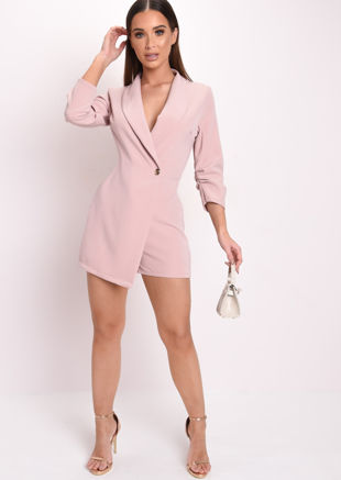 Gathered Sleeve Tailored Blazer Playsuit Pink