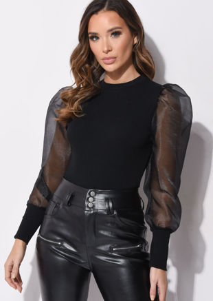 Organza Mesh Puff Long Sleeve Ribbed Top Black