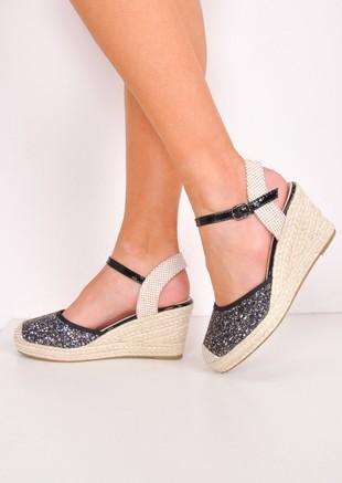 Glitter Espadrille Wedge Sandals Black