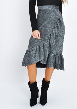 Glitter Lurex Frill Wrap Front Midi Skirt Silver
