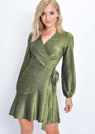 Glitter Lurex Pleated Wrap Over Mini Dress Gold