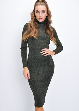 Glitter Lurex Ribbed Turtleneck Midi Dress Gold