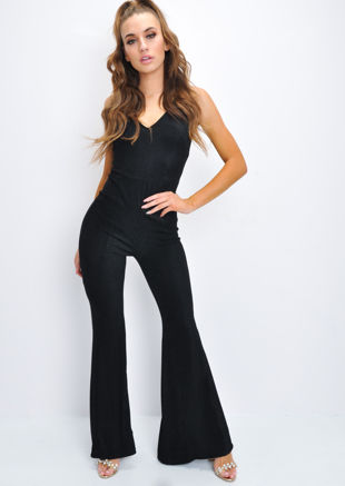 Glitter Lurex Sleeveless Flare Leg Jumpsuit Black