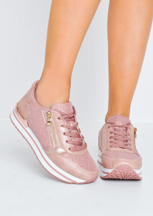 Glitter Metallic Lace Up Trainers Pink