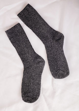 Glitter Metallic Ribbed Socks Black