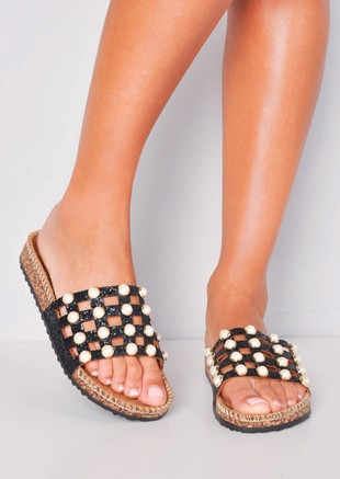 Glitter Pearl Studded Caged Sliders Black
