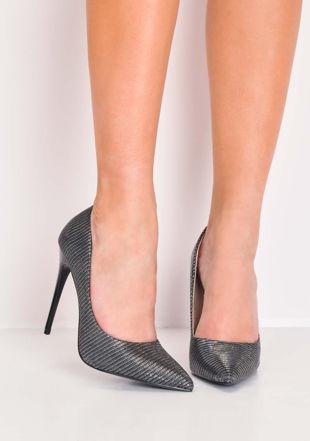 Glitter Pointed Toe Stiletto Heels Black