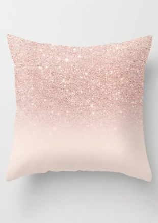 Glitter Print Square Cushion Cover Pink