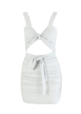 Glittery Multi Tie Bralet Crop Top Ruched Mini Skirt Co-ord Set Silver