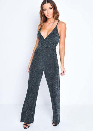 Glittery Wrap Front Wide Leg Jumpsuit Black